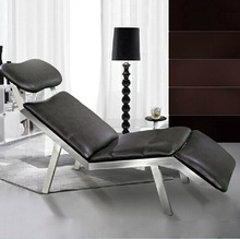 Leather chaise lounge with stainless steel frame