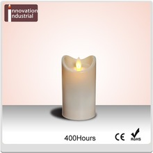 Battery operated LED moving flame candle with timer function and special resin material