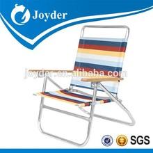 folding beach chair with wooden armrest