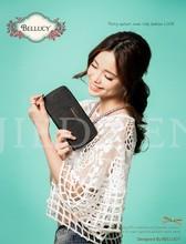 2015 new arrival unique lady genuine leather zipper wallet purse