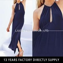 2015 New Navy Blue Women Halter Sleeveless Sexy Dress Maxi