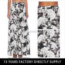 2015 summer flower printed chiffon women maxi skirt