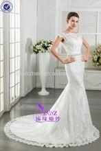 R13 2015 Alibaba Popular BridalWear Lace Hem Floor Length Lace Boat Neck V Shape Back Mermaid Wedding Dress with Beaded Belt