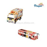 Best price paper model bus souvenirs car puzzle kid toy