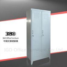 IGO-Furniture 2 door steel clothes cabinet , 2 compartment locker steel clothes cabinet home wine cabinet