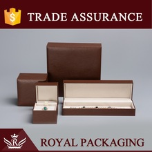 Brown Sewing Luxury Leather Jewelry Box