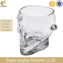 Large Clear Skull Glass Vodka Ice Bucket