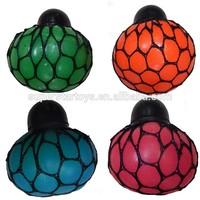 TPR mesh squish ball with cap , 5cm grape ball