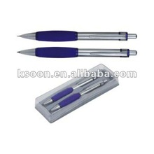 Metal ball pen and Metal Mechanical Pencil set in a plastic box