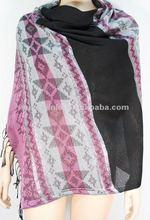 Pink stripe rhombic design ladies shawl,fashion polyester scarf