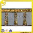 Golden Sequins Decorative Curtain Trim,Sequin Lace Trim with Double Beads Pendants
