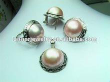 MBES-002 fashion desaing, large size 16mm Round Mabe Sea Pearl Set