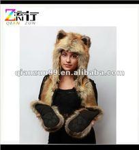 spirthood funny red fox full hood faux fur plush animal hats