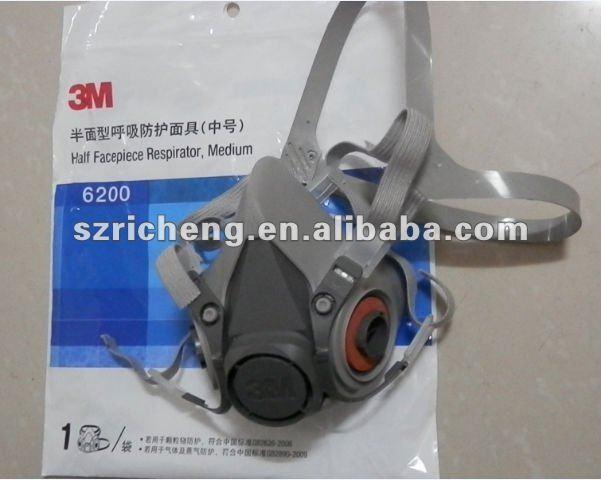 3m 6200 pieza facial media máscara respirador/de tamaño medio