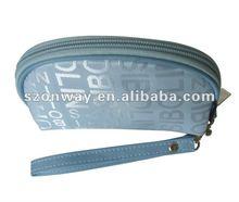 sky blue jacquard beauty case pouch