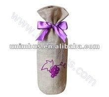 Customized jute wine bottle gift bags