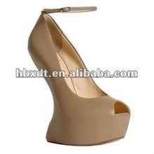 Nude wedges with no heel fashion open toe platform wedges