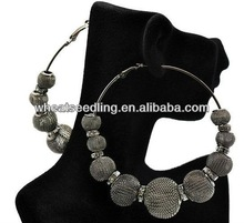 Fashion Basketball Wives Earring Poparazzi Mesh Ball With 8mm Crystal Wheel 8cm Hoop Earring BWE89