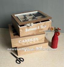 FU-11035 wooden oak veneer knitting set box