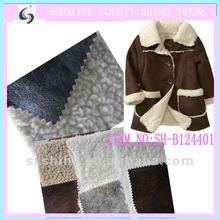 bronzing suede bonded fleece male fur leather jacket fabric