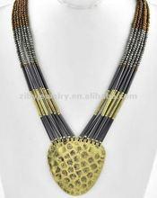 Burnished Gold Tone Metal / Hematite & Chocolate Seeds Beads / Multi Strand Necklace