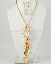 Rhodiumized / Grey Acrylic & Synthetic Pearl / Clear Glass / Lead&nickel Compliant / Cluster Style / Long Necklace & Fish Hook E