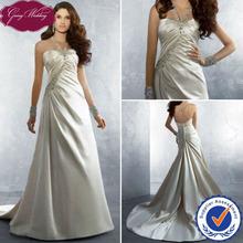 Goingwedding halter satin champagne a-line discount Wedding Dress 2012 AA027