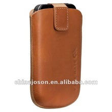 2014 special fashion handmade brown pu leather cell phone case with strap for factory design