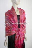 (JDC-299 col.A15#) 2012-2013 the hottest jacquard pashmina multi-color fashion scarf colorful flower shawl