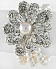 Rhodiumized / Lt.pink Synthetic Pearl / Clear Rhinestone / Lead&nickel Compliant / Flower Multi Row Stretch Bracelet