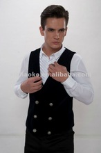 5009A842A Black Double Breasted Mens Casual Waist Coat 2012
