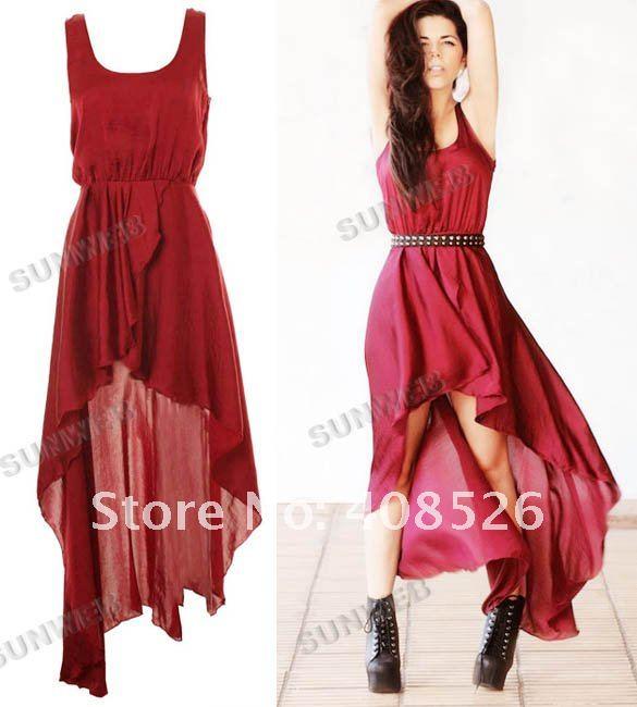 2012 Fashion New Womens Temperament Irregular Skirt Chiffon Long Dress 5162
