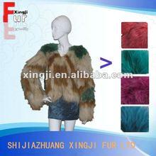 real dyed fashion design raccoon fur coat