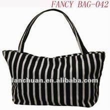 Popular white and black stripe women beach bag