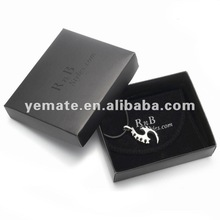 Black fashion quality silver necklace jewelry display case, paper cardboard jewelry display box