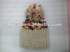 Guangzhou Kid Knitted Hat With Top Pompon / Cute Little Knitted Beanie baby hat