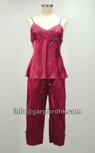 Comfy Beautiful Satin Pyjama Set Sleepwear w/ Embrodiery detail