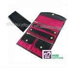 Luxury black leather jewelry roll for women/ Travel leather jewelry wallet/ jewelry gift roll
