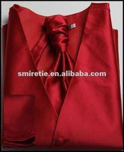 Red wedding vest, men's shinny waistcoat