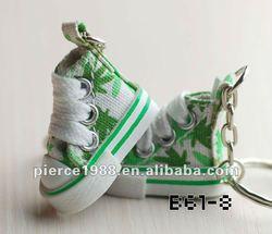 2014 hot sell fashion design canvas mini shoe keychain mini running shoe keychain
