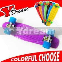 Fish Board purple deck blue wheel cruising the streets