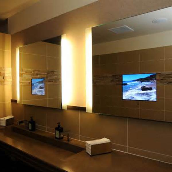 Clássico LED iluminado à prova d  água LCD espelho do banheiro TvEspelh -> Armario De Banheiro A Prova DAgua