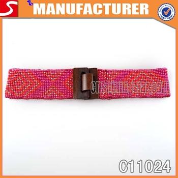Beaded wooden buckle stretch waist belt