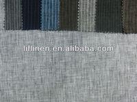 100% linen grey stripe fabric