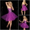 C016 Attractive beaded organza lavender patterns cocktail dresses