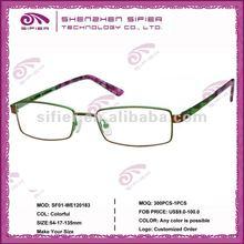 2013 New Design Rectangle Optical Transparent Lens Color Reading Glasses