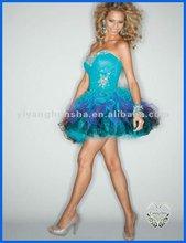 Backless Rainbow Skirt Sweetheart Beaded A-Line Sexy Mini Cocktail Dresses 2012