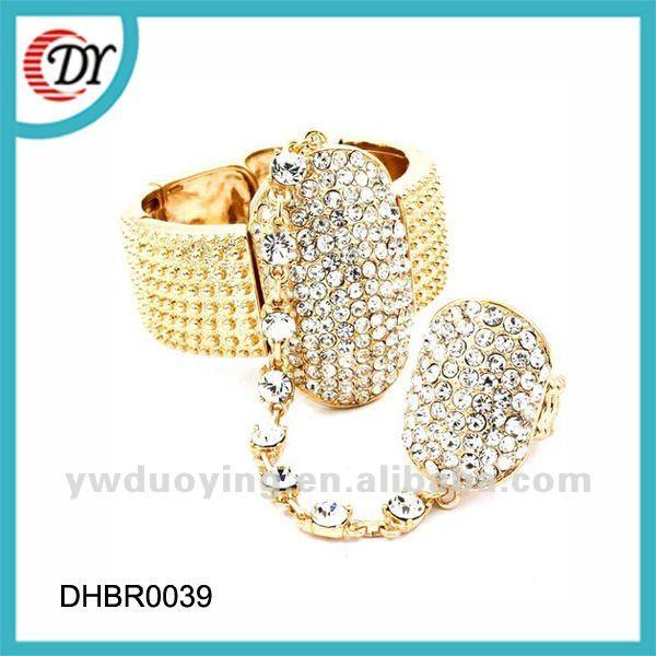 Gold Ring Bracelet Chain Gold Bracelet Connected Ring