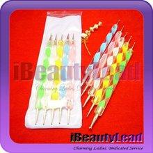 Nail Art Brush with 5 pcs two way nail dotting pen