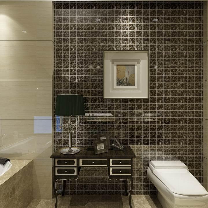 Piastrelle di vetro mosaico a parete, bagno in vetro ...